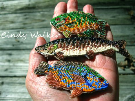 Micro-Bead Embroidered Fish by Ghost-Horse