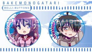 Bakemonogatari Button Set by jinyjin