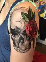 Skull and Rose (temporary tattoo?) by Cosmos-Boy