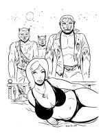 Curvy pinup with 3 werewolves by doctorbo