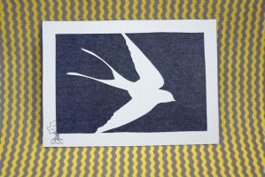 Swallow Silhouette ACEO by quirkandbramble