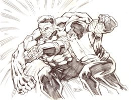 AvX: Red Hulk vs. Colossus/Juggernaut by guinnessyde