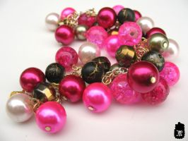 Pink and Gold Cluster Bracelet by TheFuzzyPineapple