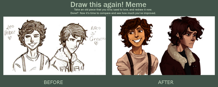 Draw this again meme Leo and Nico by odairwho