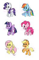 Mane 6 Cheebs (Series 2) by GopherFrog