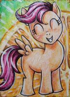Scootaloo - Orange Splash ACEO by LittlePonyPrincess
