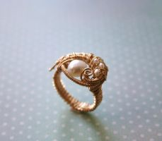 Evil Eye Ring Gold and Pearls by WrappedbyDesign