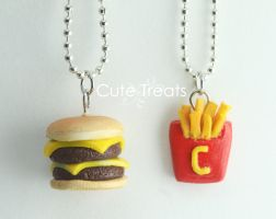 Double cheese burger and cute fries by Glowpr