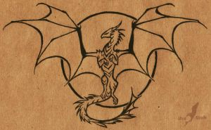 Tattoo design - sun dragon - uncolored by AlviaAlcedo