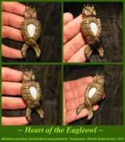 Heart of the Eagleowl - handsculpted Pendant by Ganjamira