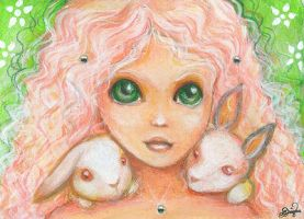 Rabbits - ACEO by BlackAngel-Diana
