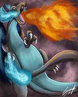 Mega Charizard X: Blue and Orange by MoodySmeargle