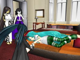 Waking up Miku to tell her what happened by swordsman9