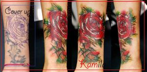 rose cover up by kama-tattoo