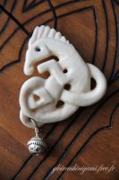 Horse bone pendant by GreatShinigami
