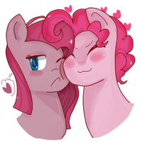 Two pink horse cuddling each other by MegaImpact