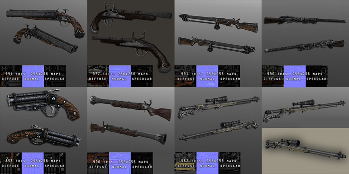 Some lowpoly steampunk rifles and pistols by MultiCamil