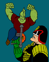 Savage Dragon Vs Judge Dredd by theadventurer