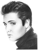 Elvis Presley charcoal drawing by Art-SamiKahelin