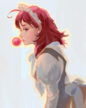 Red head girl with bubble gum by momokitty2003