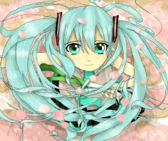 Miku In The Cherry Blossom Rain by Snoffi2012