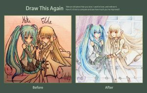 Draw this Again Contest : Miku and Elda by Amika-theonenonly