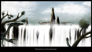 Coelophysis and Plateosaurus by highdarktemplar