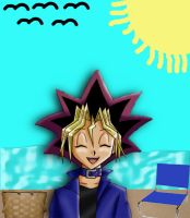 Yugi is at the beach by chibibastetmotou