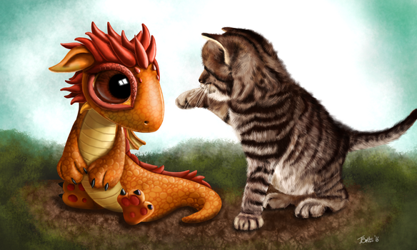 Scaly and Fluffy - Gimp Drawing by Britsie1