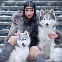 Beata and husky dogs by fotomartinez