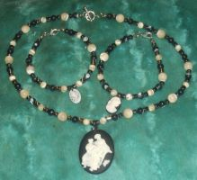 Mother-of-Pearl Cameo Necklace and Bracelets Set 1 by Windthin