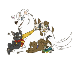 Krypto and the Puppies by The-Chibster
