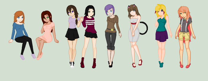 ~:All My Female Characters:~ by SwedishPixelsXVI