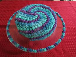 Blue and purple swirl cake by SaturnsLegacy