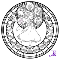 Esmeralda Stained Glass -line art- by Akili-Amethyst