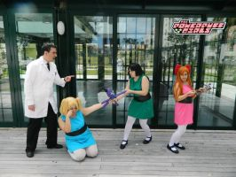 Powerpuff girls and professor by Sphira