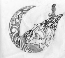 Wolf, cliff, moon, howling. by Red-Red-Panda