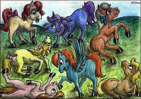 Bunch of horses (or maybe ponies) by elfman83ml