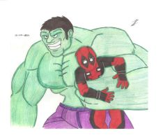 deadpool and hulk  team up   color by jasaph