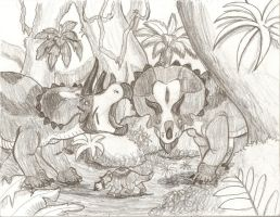 Triceratops Family Picnic by BrandonSPilcher
