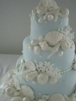 Blue And White Seashell Cake by xXx--Kawaii--xXx