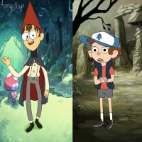 Crossover Styles- Dipper and Wirt by Amyhip