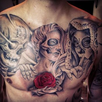 skull day of dead chest tattoo by Unibody