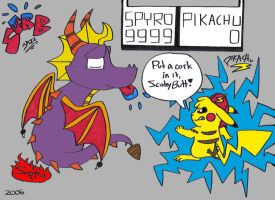 SPYRO vs PIKACHU by Spyroflamesredsbum