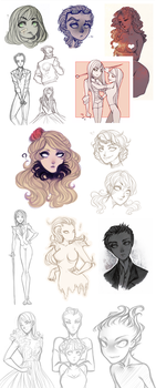Sketches. OCs, Don't Starve, Terraria by AShiori-chan
