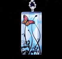 Blue argyle butterfly necklace by AngelElementsEtsy