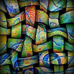 square trippy textile w spiral by santosam81