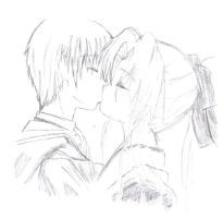 anime kissing by monroyjunpei