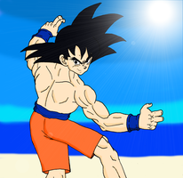 Goku in Shorts by sonigoku