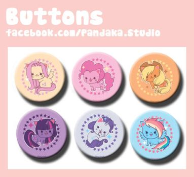 Pandaka buttons MLP meow edition by Silveril